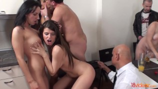 18videoz – Sex party with older spectator HD Porn Video