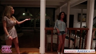 Busty lesbians Capri Cavanni and Nicole Aniston toying pussies