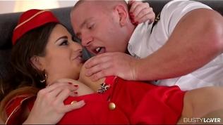 Busty lovers get hard as heavenly flight attendant Cathy Heaven gets wet