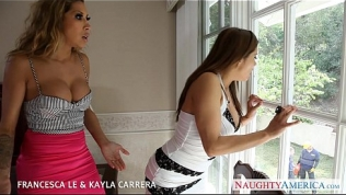 Gorgeous Francesca Lee and Kayla Carerra fucking in foursome