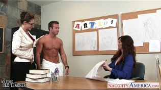 Sex teachers Eva Notty and Syren De Mer sharing a large dick in threesome