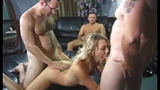 Blonde Services Room Full Of Guys Free Porn Video
