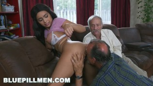 BLUE PILL MEN – Gorgeous Black Pornstar Aaliyah Hadid Takes These Old Men For A Ride!