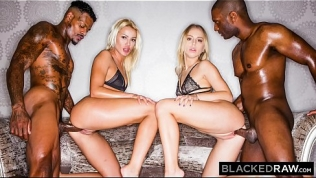 BLACKEDRAW Two Blondes Fuck Two Dominant BBCs After A Night At The Club HD Porn Video