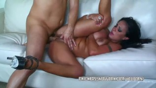 Curvy brunette Mariah Milano gets nailed with a big cock