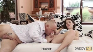 DADDY4K. Daddy stretches good-looking chick while son is not at home HD Porn Video