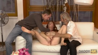 DADDY4K. Submissive redhead enjoys pussy fingering for bearded daddy HD Porn Video