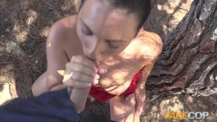 Fake Cop Spanish slut fucks cop for gasoline trip