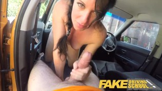 Fake Driving School Cheating learners tight pussy filled with instructors cum