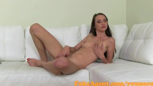 FakeAgent Hot brunette babe gets ass spunked over in Casting