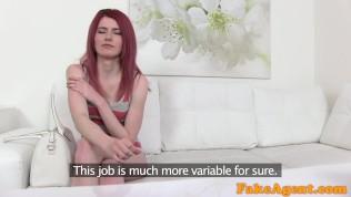 FakeAgent Hot Slim Redhead model gets agent spunk on her ass