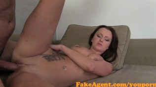 FakeAgent Redhead's pussy swallows sperm in Casting interview