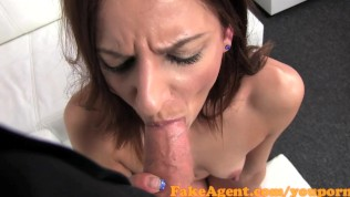FakeAgent Tall skinny amateur gets sprayed with jizz in Casting