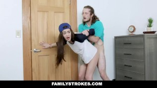 FamilyStrokes – Lesbian Stepsis Rides Her Stepbros Cock