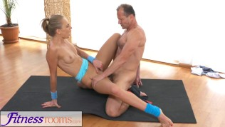 FitnessRooms Ivana Sugar has a full body and pussy stretch with fitness trainer Free Porn Video