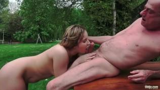 Grandpa Fucks Teen On Rainy Day and licks her tight pussy