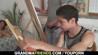 Granny is banged by two young painters