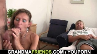 Horny old granny swallows two dicks