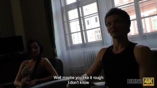 HUNT4K. Pretty brunette fucked by stranger to earn cash for ring HD Porn Video