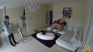 HUNT4K. Tourist for money let tricky man stretch GF all over couch HD Porn Video