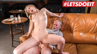 LETSDOEIT – TEEN Waitress Gets Her Tight Pussy Fucked By Sugar Daddy!