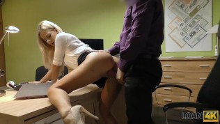 LOAN4K. Agent drills mouth, pussy, and asshole of blonde in office HD Porn Video