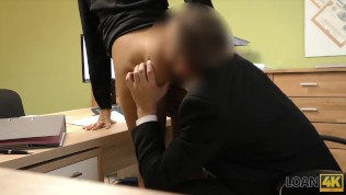 LOAN4K. Blonde hottie with pigtail is owned by loan manager for cash HD Porn Video
