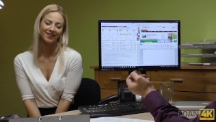LOAN4K. Blonde lassie gives herself to agent in office in loan porn HD Porn Video