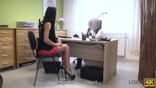 LOAN4K. Rich miss gets on her knees and blows dick of bank manager HD Porn Video