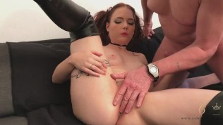 Make him cuckold – Fuck in the sofa – with Cathy Crown Belgium porn star