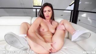 Naughty brunette GF Casey Calvert spreads her tight pink pussy
