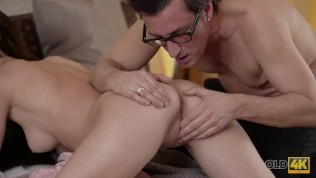 OLD4K. Old dad stretches young chick and cums all over her tummy HD Porn Video