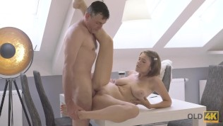OLD4K. Young girl with juicy boobs and old lover relax together HD Porn Video