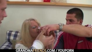 Partying guys nail blonde grandma