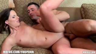 Silk skinned Euro brunette is penetrated hard and deep