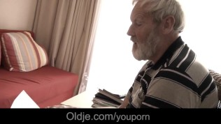 Teen girl in pain gets solace in crazy fuck with oldman