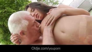Teen mistress masturbates while fucking old cheating guy takes cumshot