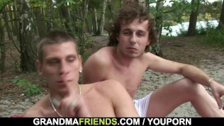 Two dudes bang old chick