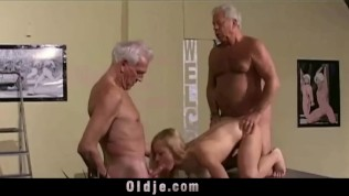 Vintage Old Young – Teenie Girl Fucked by 2 white hair grandpas