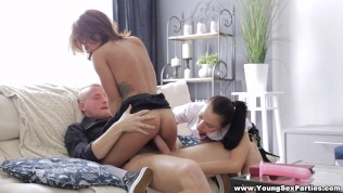 Young Sex Parties – Lesbian tutoring and threesome HD Porn Video