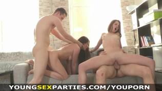 Young Sex Parties – Teen chicks sharing stiff dicks HD Porn Video