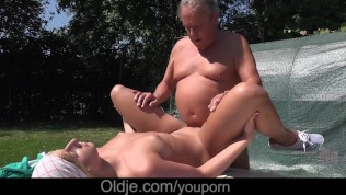 Young step daughter fucked dad old friend after outdoor blowjob