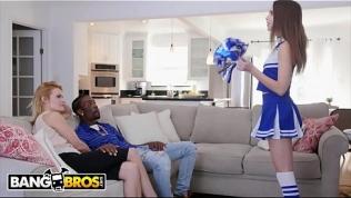 BANGBROS – Cheerleader Riley Reid Rides Her Mom's Boyfriend's Big Black Dick