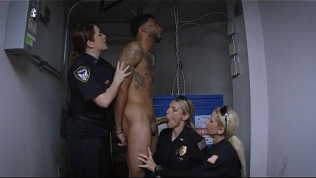 Three White Female Cops Taking On Great Big Black Dong