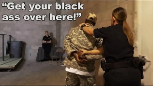 BLACK PATROL – Fake Soldier Gets Used As A Black Fuck Toy By White Cops
