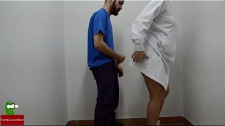 Nurse doing first aid on dick