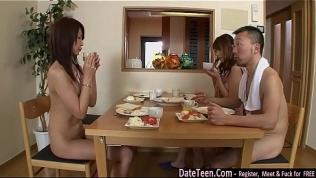 2 girls n 2 guys get naked in living room