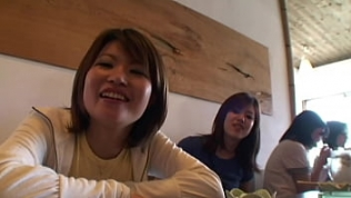 2 female japanese backpacker meets some older guys and have fun in a hostel