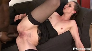 Amazing babe in black lingerie fucked by BBC